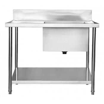 Perfil Direito - Mesa Bancada Aço Inox Industrial com Paneleiro e Cuba 50x50x30 - 100x70x90 - Brascool