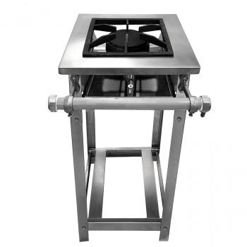 Fogão Industrial em Inox Baixa Pressão Perfil 8 - 1 Boca (1 Simples) 30x30  - Brascool
