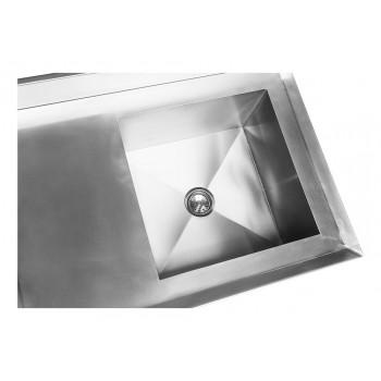 Cuba - Mesa Bancada Aço Inox com Paneleiro e Cuba 50x50x30 (Direito) 100x70x90 - Brascool