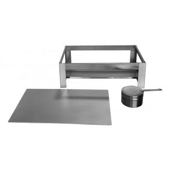 Desmontado - Rechaud Retangular de Chapa / Placa Difusora (23x40cm) - Brascool Inox (Equipamentos Gastronômicos)