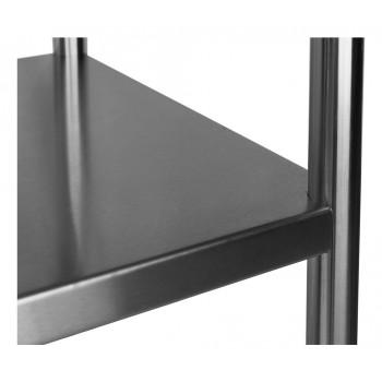 Prateleira detalhe - Mesa para Manipulação 100% Aço Inoxidável com Espelho - 1,8m (180x70x90cm) - BR-180C
