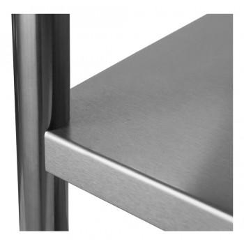 Detalhe prateleira - Mesa / Bancada de Apoio 100% Aço Inoxidável com Espelho - 2,2m (220x70x90cm) - BR-220C