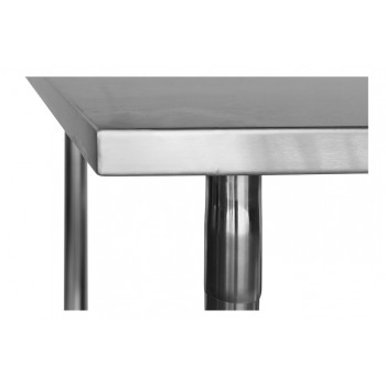 Tampo detalhe - Mesa / Bancada de Apoio 100% Aço Inoxidável - 2m (200x70x90cm) - BR-200S