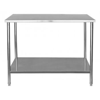 Frontal - Mesa / Bancada de Apoio 100% em Aço Inoxidável - 1,2m (120x70x90cm) - BR-120S