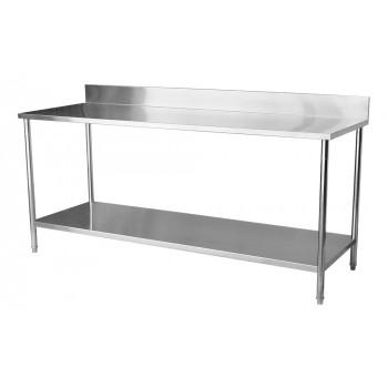 Mesa / Bancada de Apoio 100% Aço Inoxidável com Espelho - 2,2m (220x70x90cm) - BR-220C