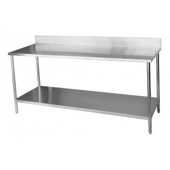 Frontal - Mesa / Bancada de Apoio 100% Aço Inoxidável com Espelho - 2,2m (220x70x90cm) - BR-220C