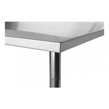 Tampo detalhe - Mesa / Bancada de Apoio 100% Aço Inoxidável com Espelho - 2,2m (220x70x90cm) - BR-220C