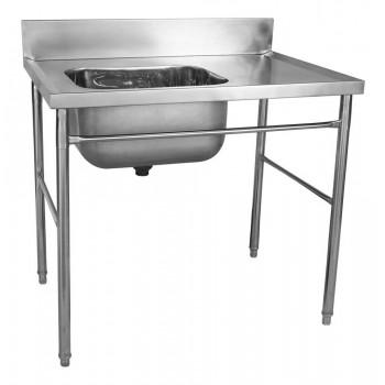 Mesa Bancada com pia em Aço Inox com Cuba 50cm (Esquerdo) - 100x70 cm perfil