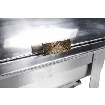 Detalhe puxador - Rechaud Aço Inox com Tampa Giratória e 3 Cubas (GN 1/3×65mm) - 9 Lts (Versão TOP) - 933-W900-3