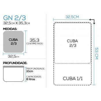 Proporção - Cuba Gastronômica Aço Inoxidável para Buffet GN 2/3×100mm (353x325mm)