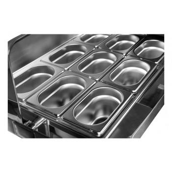Cubas - Rechaud Aço Inox com Tampa Giratória e 9 Cubas (GN 1/9 65mm) - 5,4 Lts (Versão Luxo)