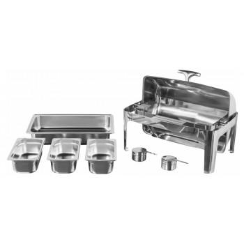 Produto Desmontado - Rechaud Aço Inox com Tampa Giratória com 3 Cubas (GN 1/3×100mm) - 13 Lts (Versão Luxo) - 723-3B