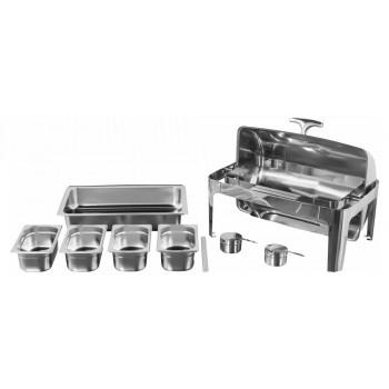 Produto Desmontado - Rechaud Aço Inox com Tampa Giratória com 4 Cubas (GN 1/4×100mm) - 13 Lts (Versão Luxo) - 723-4B