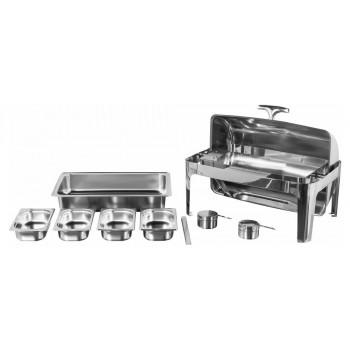 Produto Desmontado - Rechaud Aço Inox com Tampa Giratória com 4 Cubas (GN 1/4×65mm) - 9 Lts (Versão Luxo) - 723-04