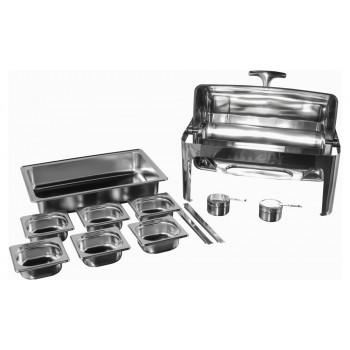 Produto Desmontado - Rechaud Aço Inox com Tampa Giratória com 6 Cubas (GN 1/6×65mm) - 9 Lts (Versão Luxo) - 723-06
