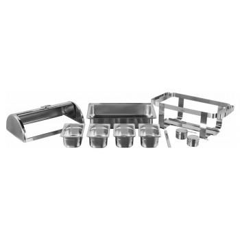 Produto Desmontado - Rechaud Aço Inox com Tampa Giratória e 4 Cubas (GN 1/4×100mm) - 13 Lts (Versão TOP) - 933-W900-4B