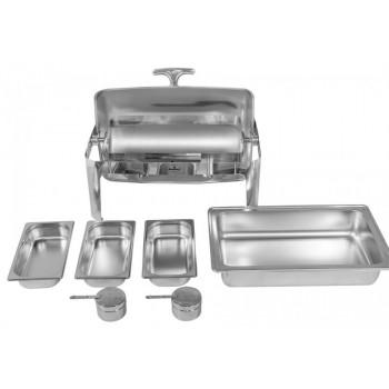 Produto desmontado - Rechaud Aço Inox com Tampa Giratória com 3 Cubas (GN 1/3×65mm) - 9 Lts (Versão Luxo) - 723-3