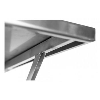 Canto - Prateleira e Suporte em Aço Inox Lisa - 1,20m (120x35 cm) - Brascool Inox (SPMFPL124)