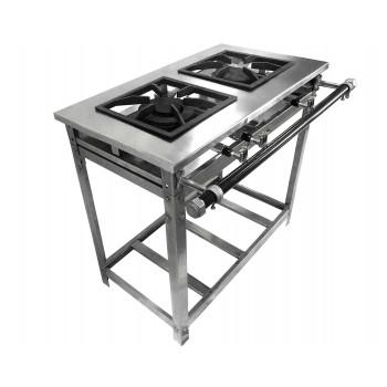 Fogão Industrial Aço Inox Baixa Pressão 2 Bocas - Standard (1 Duplo E 1 Simples) 30x30 - Brascool