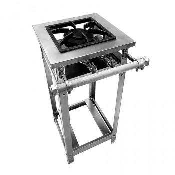 Fogão Industrial Aço Inox Baixa Pressão Perfil 4 - 1 Boca - Standard (1 Duplo) 30x30 - Brascool
