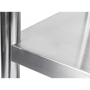 Detalhe - Estante em Aço Inoxidável com 5 Prateleiras Lisas - 1,5m (150x50x200cm)