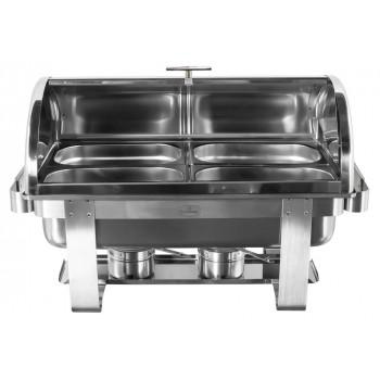 Produto Montado - Rechaud Aço Inox com Tampa Giratória e 4 Cubas (GN 1/4×65mm) - 9 Lts (Versão TOP) - 933-W900-04