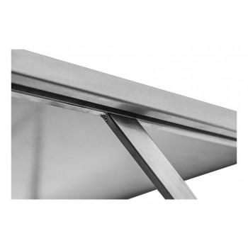 Apoio - Prateleira e Suporte em Aço Inox Lisa - 1,20m (120x35 cm) - Brascool Inox (SPMFPL124)