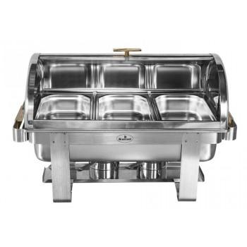 Rechaud Aço Inox com Tampa Giratória e 3 Cubas (GN 1/3×65mm) - 9 Lts (Versão TOP) - 933-W900-3