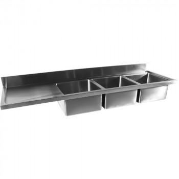 Tampo Bancada com pia em Aço Inox com Três Cubas 50cm - 240x70 cm direita perfil