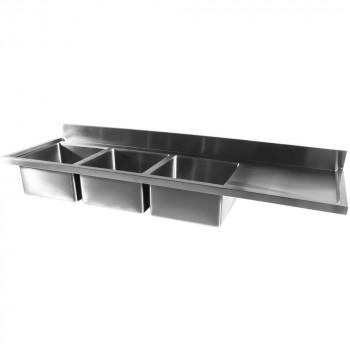 Tampo Bancada com pia em Aço Inox com Três Cubas 50cm - 240x70 cm esquerda perfil