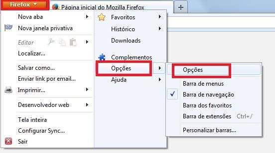 Como Habilitar Cookies Firefox - Passo 1